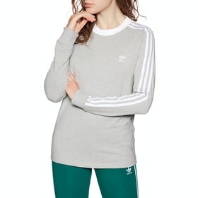 Adidas Originals 3 Stripe Womens Long Sleeve T-Shirt - Medium Grey Heather