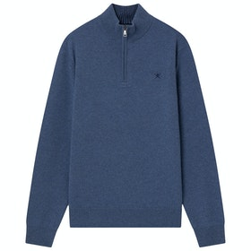 Hackett Lambswool Zip Sweater - Navy/denim