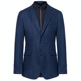 Hackett Herringbone With Moleskin Bib Knits - Dark Blue