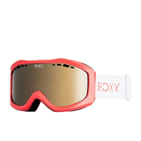 Roxy Sunset Womens Snow Goggles - Living Coral ~ Multilayer Gold