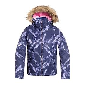 Roxy Jet Ski Girls Snow Jacket - Medieval Blue Arctic Leaves