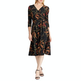Abito Donna Lauren Ralph Lauren Print Fit and Flare - Black Gold Multi