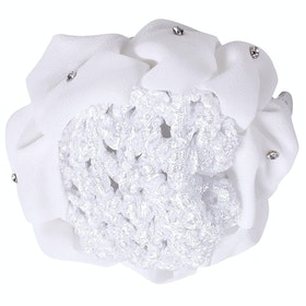 QHP Flower Bow Hairnet - White