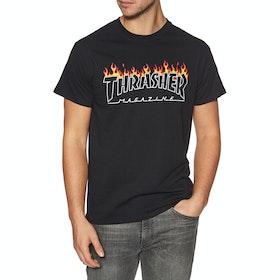 Thrasher Scorched Outline Short Sleeve T-Shirt - Black