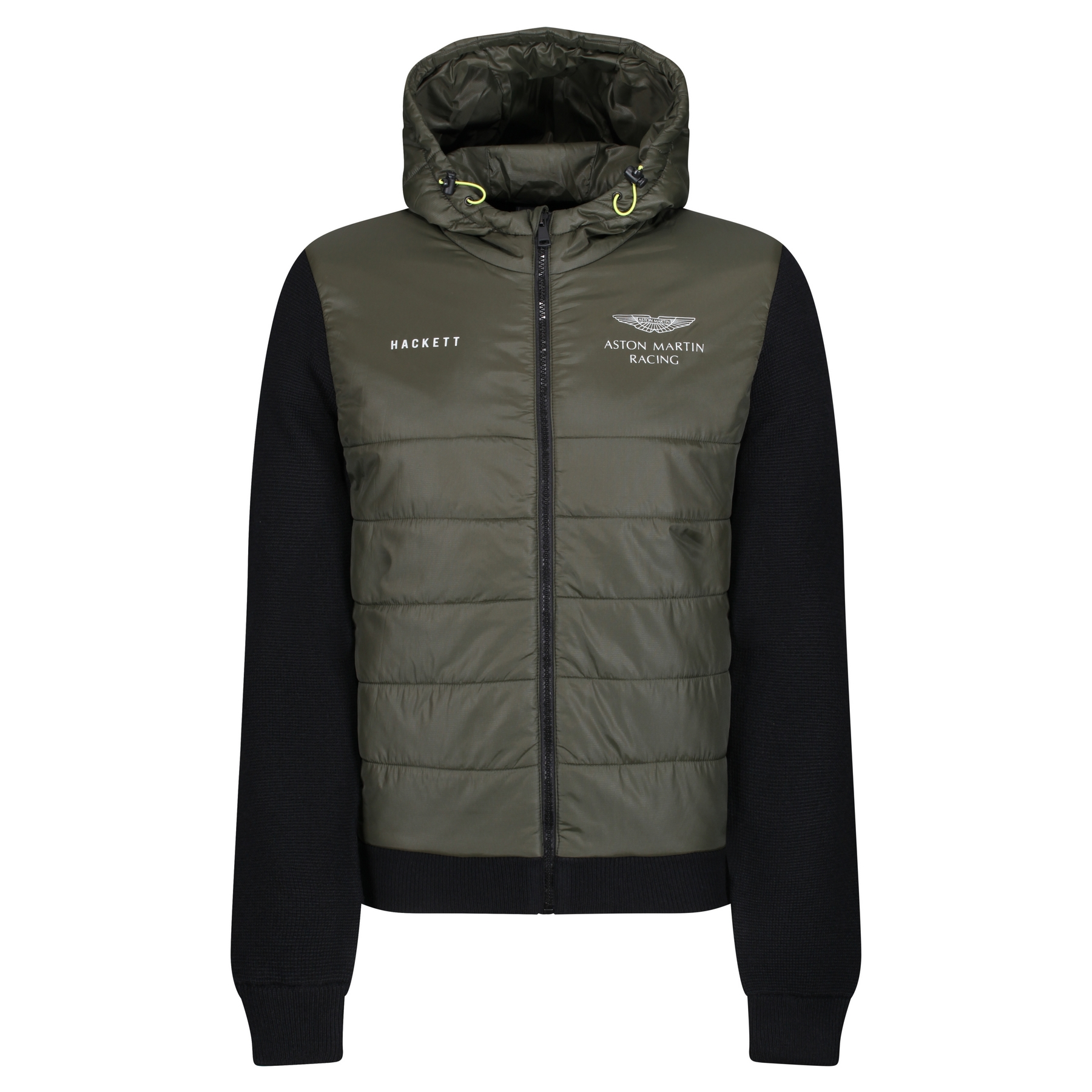 Hackett Aston Martin Racing Quilted Front Jacket Khaki Black Country Attire Us