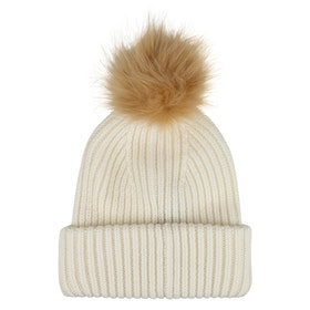 BKLYN Oversized Merino Chalk White Damen Beanie - Tan Pom Pom