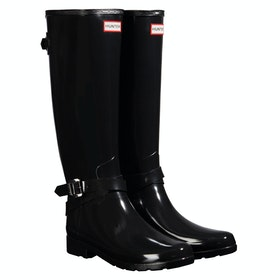 Hunter Refined Back Adjustable Tall W/ Ankle Strap Gloss Ladies Wellington Boots - Black