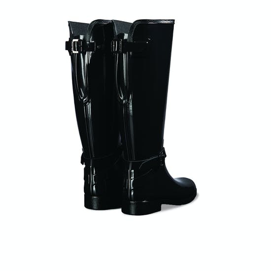 Hunter Refined Back Adjustable Tall W/ Ankle Strap Gloss Womens Wellies