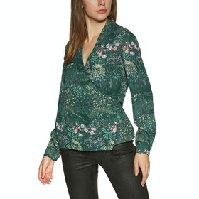 Ted Baker Thessie Diamond Pintuck Wrap Blouse Women's Shirt - Dark Green