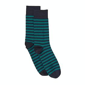John Smedley Hecate Striped Socken - Navt Landscape Green