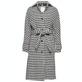 Tommy Hilfiger Houndstooth Wool Blend Womens Bunda - Black White Houndstooth