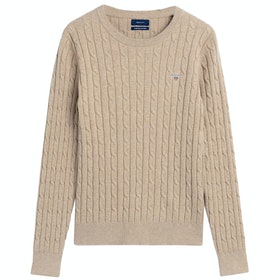 Gant Stretch Cotton Cable Crew Neck Women's Sweater - Sand Melange
