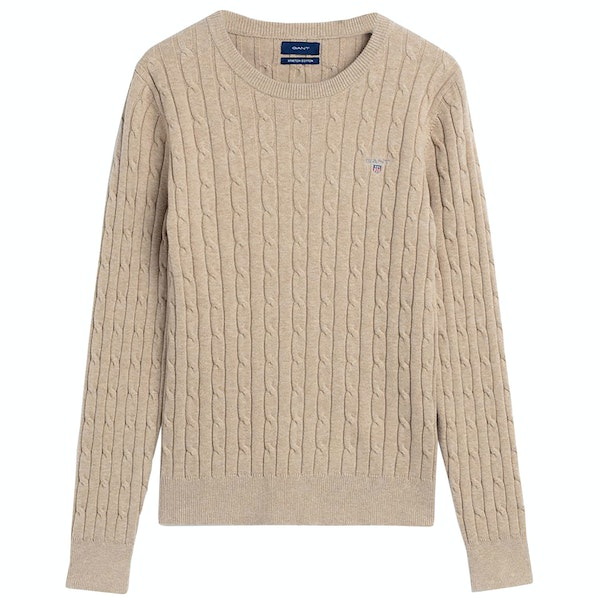 Gant Stretch Cotton Cable Crew Neck Women's Sweater