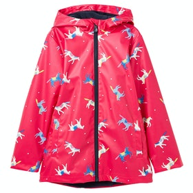 Joules Raindance Girls Jacket - Pink Horses