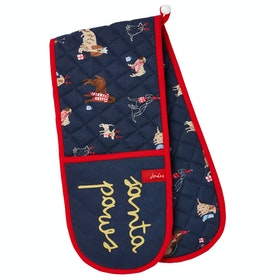 Oven Glove Joules Christmas Double - Navy Xmas Dogs