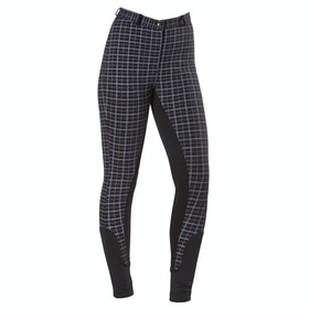 Firefoot Farsley Check Childrens Riding Breeches - Black White Red Check