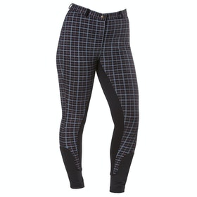 Firefoot Farsley Check Damen Riding Breeches - Black White Red Check