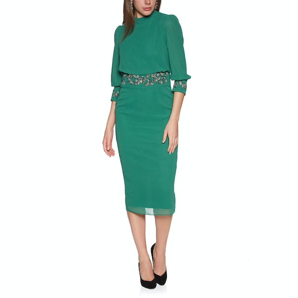 Hope & Ivy Embellished Cuff And Waist Pencil Dress
