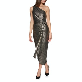 Ted Baker Gabria One Shoulder Drape Midi Women's Dress - Gold