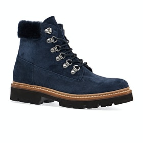 Grenson Brooke Ladies Boots - Peacoat Navy Suede Shearling