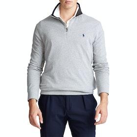 Maglione Polo Ralph Lauren Basic Mesh Quarter Zip - Grey