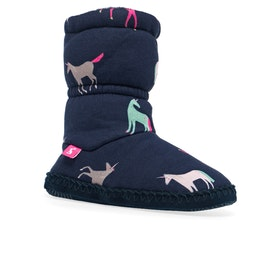 Joules Padabout Girls Slippers - Navy Unicorns