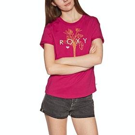 Roxy Epic Afternoon Logo , Kortärmad T-shirt Dam - Cerise