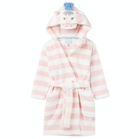 Joules Giddy Girl's Dressing Gown - Jasmine Stripe Horse
