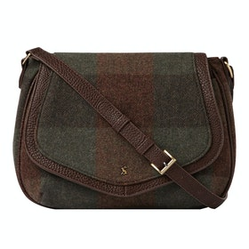 Joules Avebury Tweed Dames Saddle Bag - Green Tweed