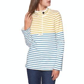 Joules Saunton Funnel Neck Women's Sweater - Gold Cream Blue Stripe