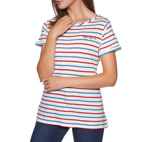 Joules Nessa Embroidered Dames T-Shirt Korte Mouwen - Cream Red Blue Stripe
