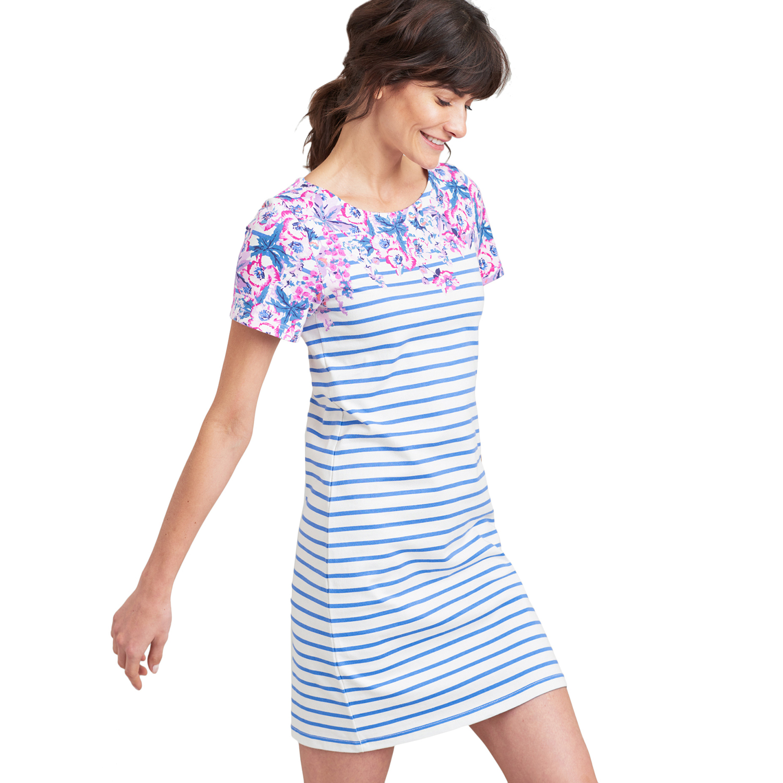 Joules Riviera Ladies Cotton T-Shirt Dress Blue Floral Stripe Size 16 New