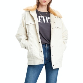 Levi's Oversized Cord Fur Trucker Womens Bunda - Ecru Wide Wale