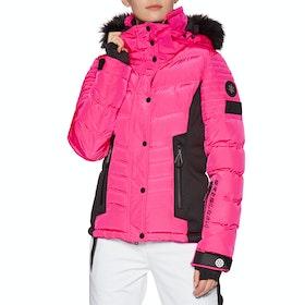 Superdry Luxe Snow Puffer Womens Snow Jacket - Luminous Pink Sheen
