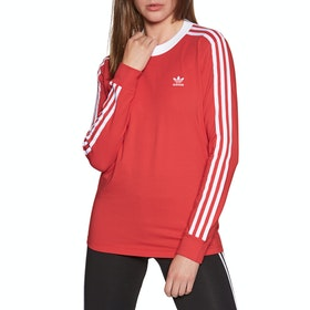 T-Shirt à Manche Longue Femme Adidas Originals 3 Stripes - Lush Red