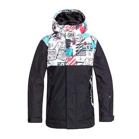 DC Defy Boys Snow Jacket - White Yth Mini Ply Print