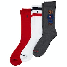 Calcetines Polo Ralph Lauren Cotton 3 Pack Sport Bear Crew - Grey/white/red