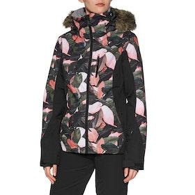Roxy Jet Ski Premium Womens Snow Jacket - Living Coral Plumes