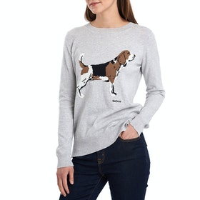 Barbour Saddle Knit Women's Sweater - Pale Grey Marl