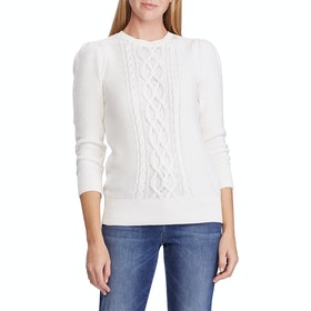 Lauren Ralph Lauren Tishari 3/4 Sleeve Women's Sweater - Mascarpone Cream