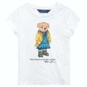 Polo Ralph Lauren Bear Knit Girl's Short Sleeve T-Shirt - White