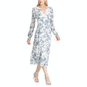 Платье Lauren Ralph Lauren Belted Floral Georgette - Colonial Cream Blue