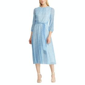 Платье Женщины Lauren Ralph Lauren Print Georgette - Blue Cream