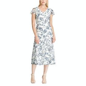 Платье Lauren Ralph Lauren Floral Lace V-Neck - Col Cream Blue Multi