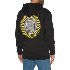 Spitfire Classic Swirl Fade Pullover Hoody - Black Yellow White Prints