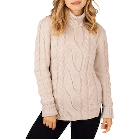 Peregrine Made In England Large Cable Polo Neck Women's Sweater - Ivory