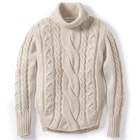 Peregrine Made In England Large Cable Polo Neck Women's Sweater
