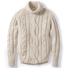 Peregrine Made In England Large Cable Polo Neck , Jumper Dam