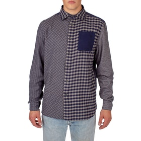 Peregrine Made In England Patchwork Shirt - Navy