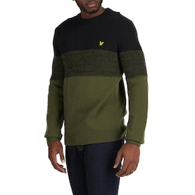 Lyle & Scott Chest Panel Jumper Herren Knits - True Black/ Olive